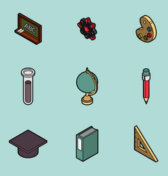 Education flat outline isometric set vector