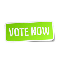 Vote now green square sticker on white background vector