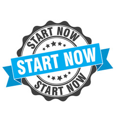 Start now stamp sign seal vector