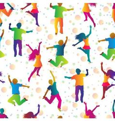 Bright seamless background with jumping people vector