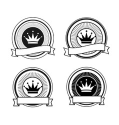 Black and white retro crown stamps vector image