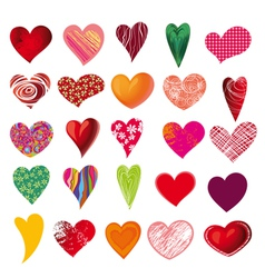 Set of multicolored hearts vector
