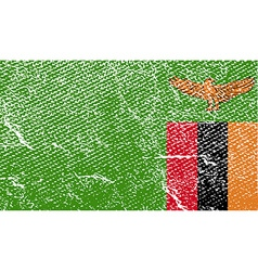 Flag of zambia with old texture vector