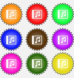 Audio mp3 file icon sign a set of nine different vector