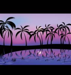 Palm tree night vector
