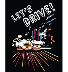 Night light car drive motion active color vector image