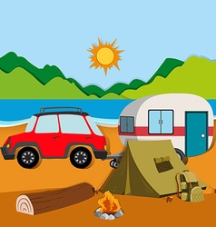 Cameground with tent and caravan vector