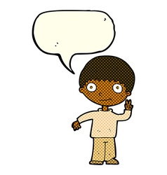 Cartoon boy giving peace sign with speech bubble vector