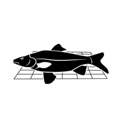 Fish on grille icon food animal symbol vector