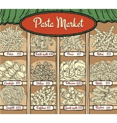 Different types of pasta with prices vector image