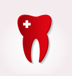 One red tooth from paper style with cross icon vector