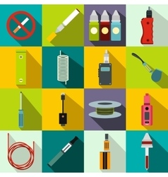 Electronic cigarettes icons set flat style vector