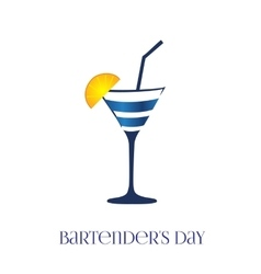 Card bartenders day glass vector