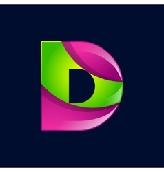 D letter green and pink logo design template vector