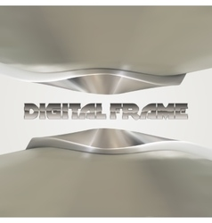 Shiny metallic frame with abstract curves vector