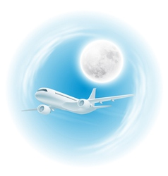 Airplane in sky with moon vector image vector image
