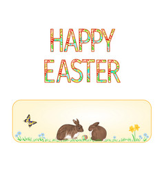 banner happy easter rabbits and easter egg vector image vector image