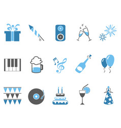 blue celebrating holiday party icons set vector image