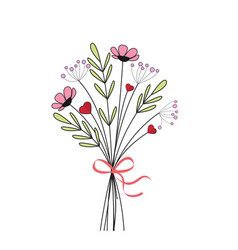 Bouquet of meadow flowers vector