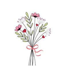 Bouquet of meadow flowers vector