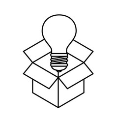 box with bulb light isolated icon vector image
