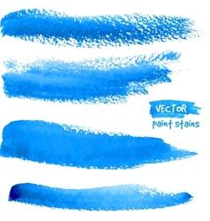 Bright blue watercolor brush strokes vector image