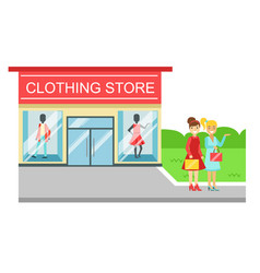 Clothing store building and two smiling women with vector