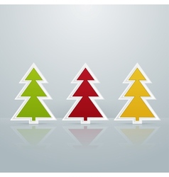Colored Fir-Trees Object Set One vector image