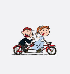 couple of newlyweds riding a tandem happy vector image vector image