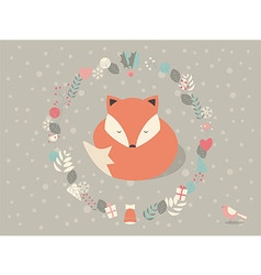 Cute sleepy christmas fox floral decoration vector