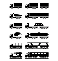 Different types of trucks vector image vector image