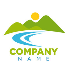 Emblem with place for company name and landscape vector