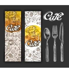 Hand drawn cafe sketch and restaurant vector