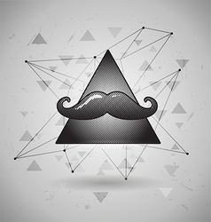 Hipster space triangle with mustaches vector