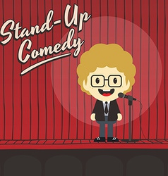 male stand up comedian cartoon character vector image