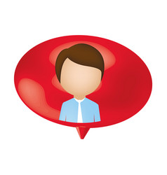 man person inside chat bubble vector image