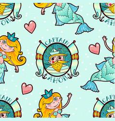 Mermaid and seaman seamless pattern kawaii vector