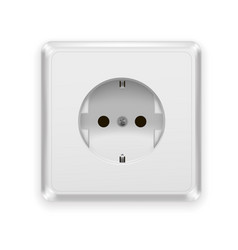 Realistic plastic power socket europe type vector