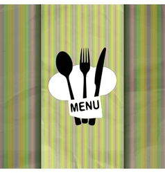 restaurant menu with chef hat chef line vector image vector image