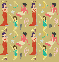 retro woman singing on microphone seamless pattern vector image