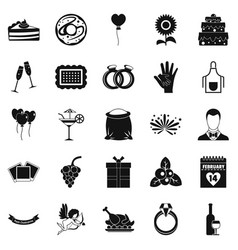Have Dinner Icons Set Simple Style Royalty Free Vector Image