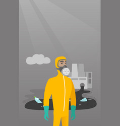 Scientist wearing radiation protection suit vector