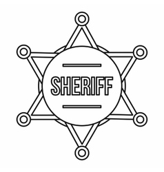 Sheriff badge icon outline style vector