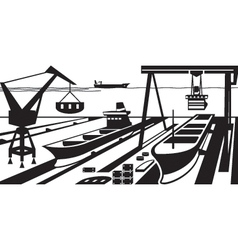 Shipbuilding with docks and cranes vector