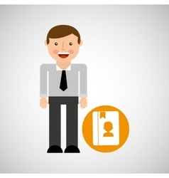 social media man concept contact vector image