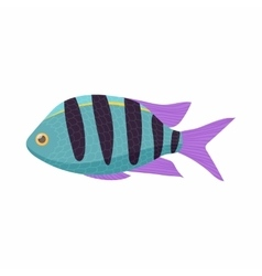 Striped tropical fish icon cartoon style vector image vector image