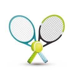 Two racket tennis ball icons graphic vector