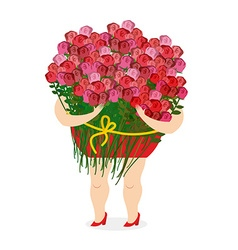 Woman holding large bouquet of roses Girl and lots vector image