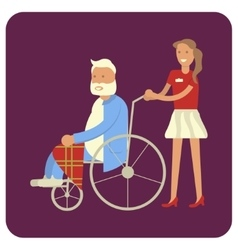Woman with grandpa in wheelchair vector