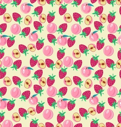 Pattern with peach and strawberries fruits vector